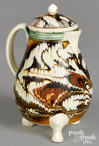 Rare footed mocha lidded pitcher, with marbleized glaze