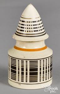 Mocha mustard pot, with engine turned decoration