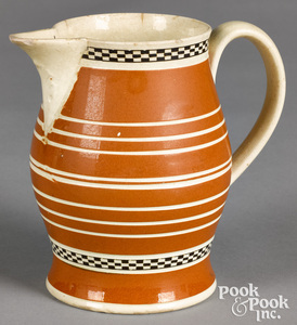 Mocha pitcher, with orange and ivory bands