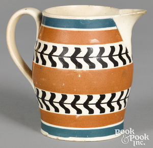 Mocha creamer, with blue and brown bands