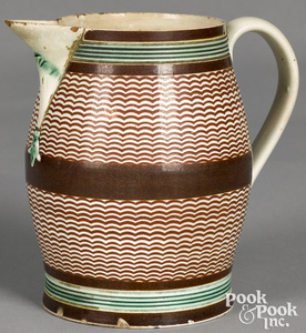 Mocha pitcher, with arched brown bands