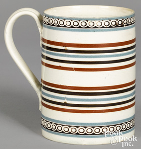 Mocha mug, with blue and brown stripes