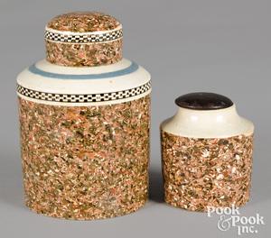 Two mocha tea caddies, with agate glaze