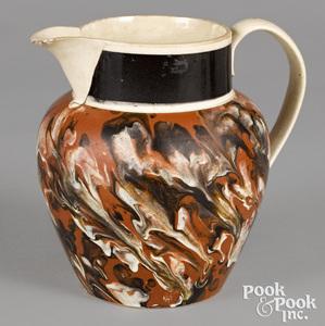 Mocha pitcher, with marbleized glaze