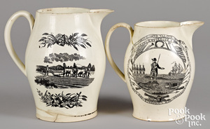 Two Liverpool Herculaneum pitchers, early 19th c.