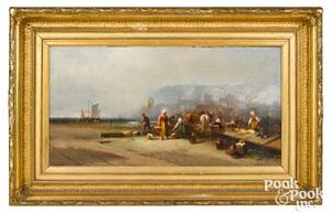 Franklin Briscoe oil on canvas of a fish market