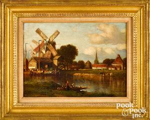 Samuel Colman oil on canvas Dutch canal scene
