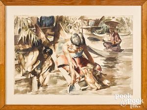Robert Riggs watercolor illustration