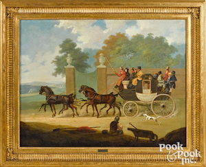 James Pollard oil on canvas of a mail carriage