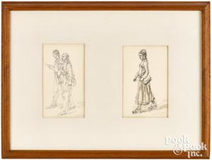 Isabel Bishop two ink and wash portrait sketches