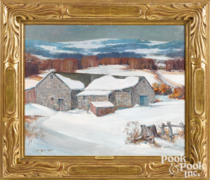 Arthur Meltzer oil on canvas winter landscape