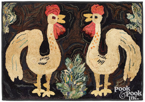 American hooked rug of two roosters