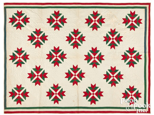 Red and green tulip quilt, late 19th c.