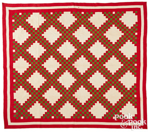 Red and green Irish chain quilt, 19th c.