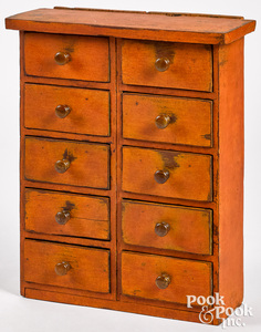 Painted pine ten drawer cabinet, late 19th c.