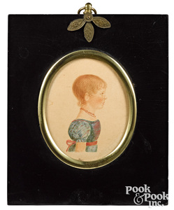 Two miniature watercolor child portraits, 19th c.