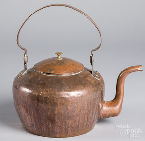 American copper tea kettle, ca. 1800