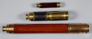 Three brass telescopes, 19th c.