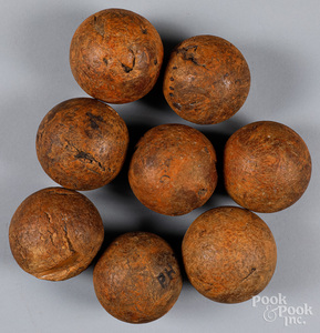 Rare early set wooden petanque or bocce balls