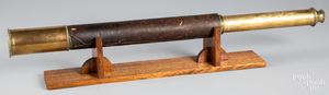 Brass and leather barrel telescope, 19th c.