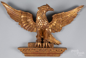 Carved giltwood eagle plaque, 20th c.