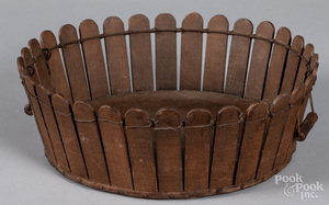 Shaker picket fence apple basket, 19th c.