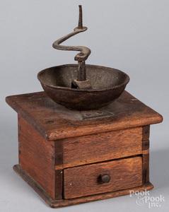 Pennsylvania walnut coffee grinder, 19th c.