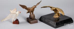 Gilt brass spread wing eagle finial, 19th c.