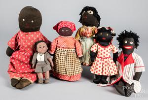 Four Black Americana cloth dolls, 20th c.