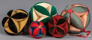 Five Pennsylvania cloth sewing balls, 20th c.