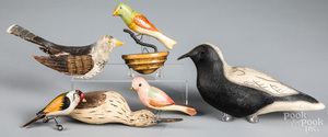 Group of carved and painted birds, 20th c.