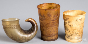Two carved horn cups, 19th/20th c.