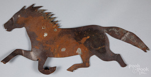 Sheet iron running horse weathervane, 19th c.