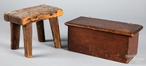 Dovetailed pine box, 18th c., etc.