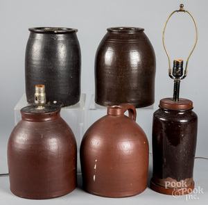 Two redware lamps, etc.