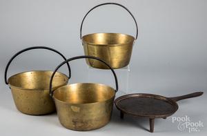 Three brass buckets with iron handles, etc.