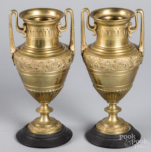 Pair of Neoclassical brass urns on slate bases