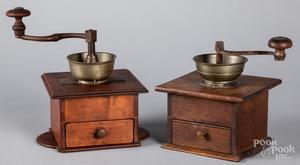 Two Pennsylvania cherry coffee grinders, 19th c.