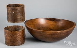 Large turned bowl, 19th c.