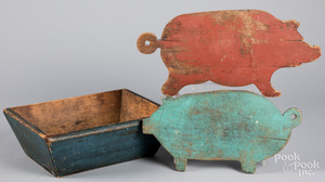 Two painted pig cutting boards, etc.