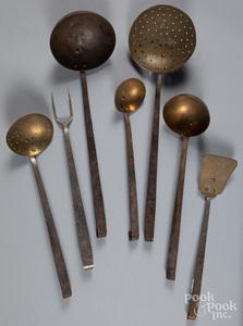 Set of F.B.S. Canton Ohio iron and brass utensils.