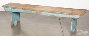 Painted pine mortised bench, 19th c.