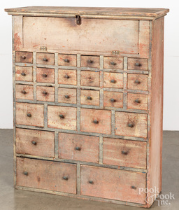 Painted pine apothecary cupboard, 19th c.