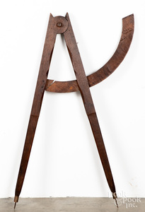 Oak and maple compass trade sign, 19th c.