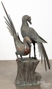Bronze garden sculpture of two birds, early 20th c