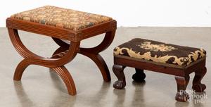 Two mahogany footstools early, 20th c.