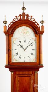 MA Federal style mahogany tall case clock