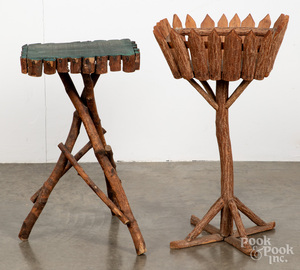 Two Adirondack twig stands, early to mid 20th c.