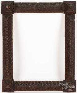 Two tramp art frames, etc.