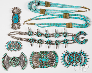 Native American Indian silver and tuquoise jewelry